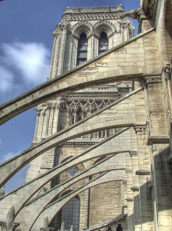 Notre Dame flying buttresses WIKIPEDIA COMMONS