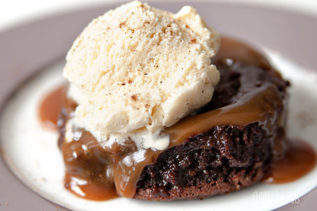 Chocolate caramel with ice cream