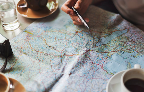Map and coffee